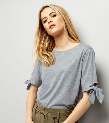 Grey Tie Sleeve T-Shirt | New Look