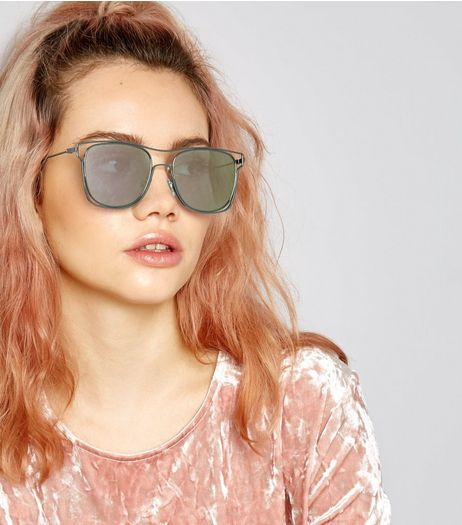 Black Wired Frame Mirrored Sunglasses | New Look