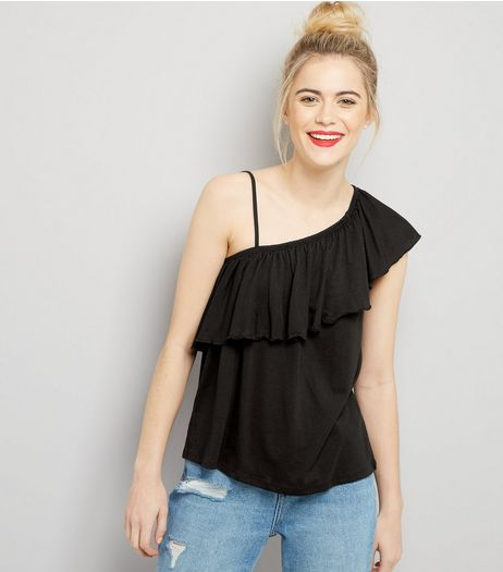 Black Asymmetric Frill Trim One Shoulder Top | New Look