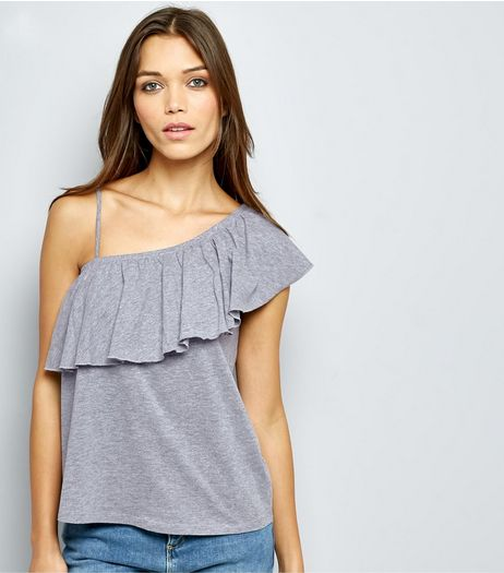 Mid Grey Frill Trim Off the Shoulder Top  | New Look
