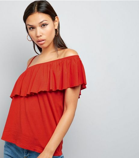 Spicy Orange Frill Trim Off the Shoulder Top  | New Look
