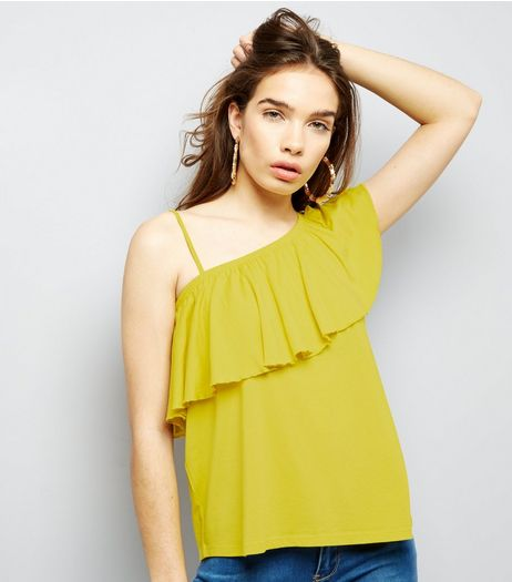 Yellow Off the Shoulder Frill Trim Top  | New Look