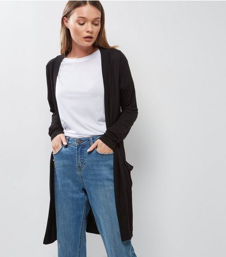 Black Double Pocket Longline Cardigan  | New Look