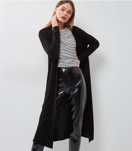 Black Split Side Longline Cardigan  | New Look