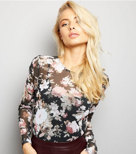 Black Floral Mesh Long Sleeve Top | New Look