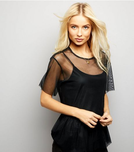 Black Sheer Peplum Top | New Look
