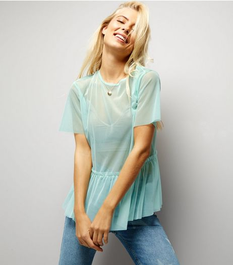 Mint Green Sheer Peplum Top | New Look