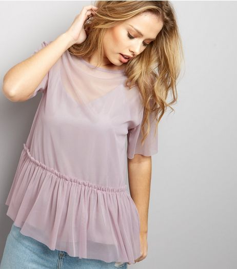 Purple Sheer Peplum Top | New Look