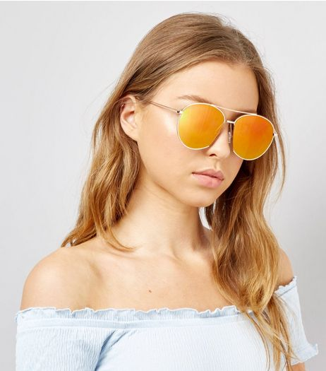 Gold Mirrored Pilot Sunglasses | New Look