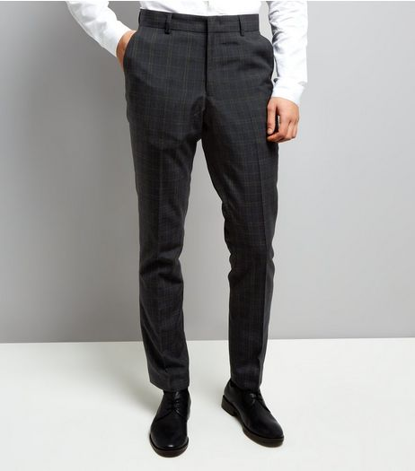 Navy Check Suit Trousers | New Look