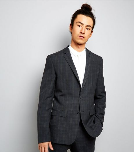 Navy Check Suit Jacket | New Look