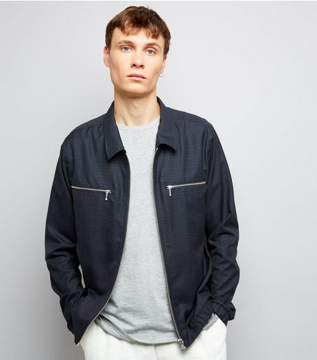 Navy Check Harrington Jacket | New Look