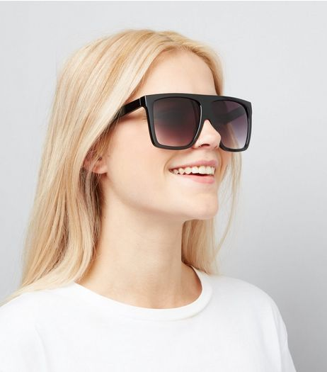 Black Flat Top Sunglasses | New Look