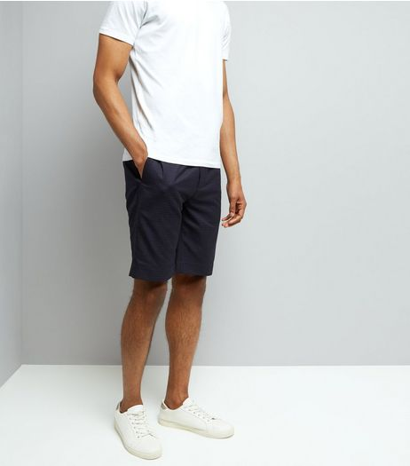 Navy Check Tailored Shorts | New Look