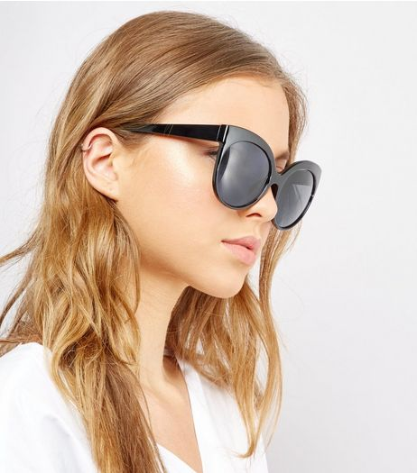 Black Oversized Cat Eye Sunglasses | New Look