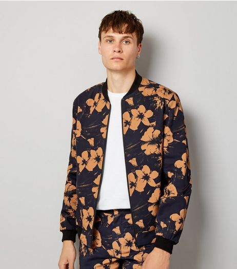 Navy Floral Print Tailored Bomber Jacket | New Look