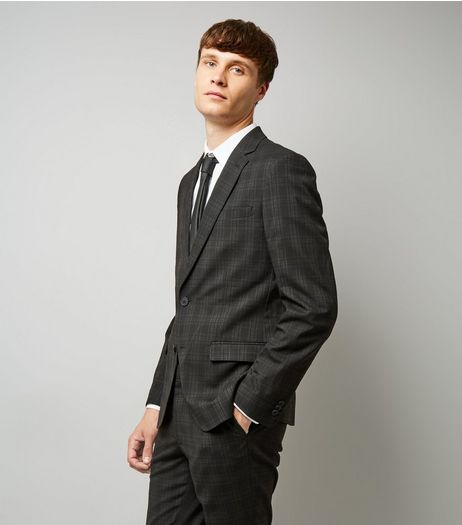 Black Check Slim Fit Suit Jacket | New Look
