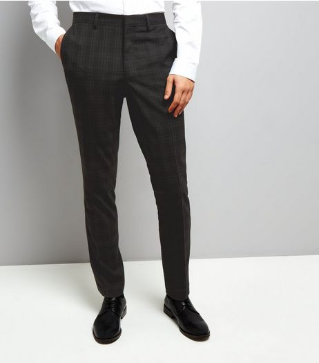 Black Check Skinny Suit Trousers | New Look