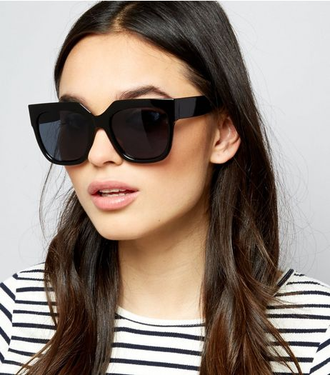 Black Flat Top Oversized Sunglasses | New Look