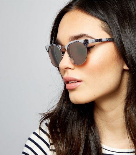 Black Marble Cat Eye Sunglasses | New Look