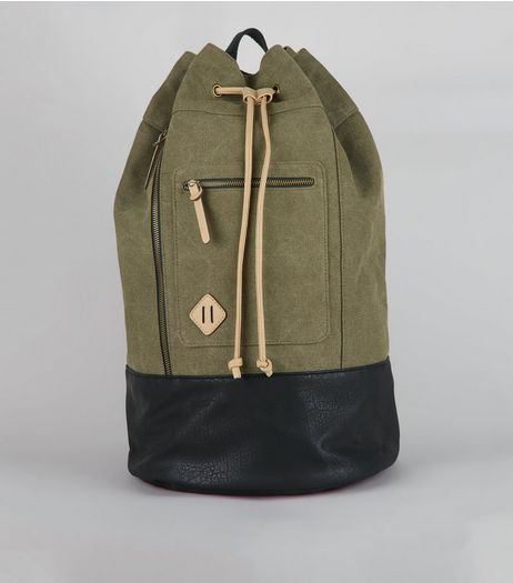 Khaki Drawstring Duffle Backpack | New Look