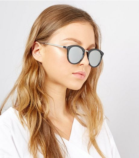 Black Double Frame Retro Sunglasses | New Look
