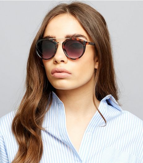 Brown Tortoiseshell Double Bar Sunglasses | New Look