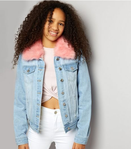 Teens Blue Faux Fur Denim Jacket | New Look