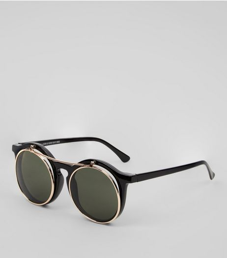Black Flip Top Sunglasses | New Look