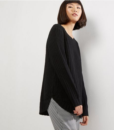 QED Black Ribbed Longline Jumper | New Look