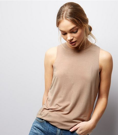 Light Brown Cut Out Back Sleeveless Top  | New Look