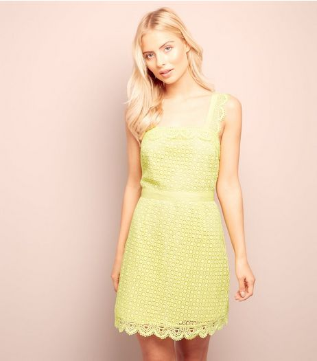 Yellow Scallop Hem Lace Tunic Dress  | New Look
