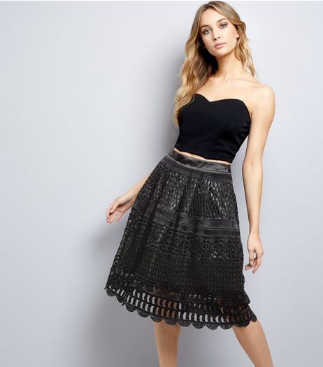 Black Premium Cut Out Lace Midi Skirt  | New Look