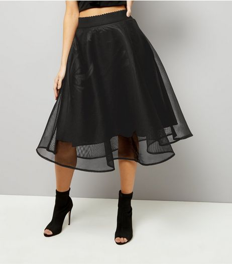 Black Sheer Midi Skater Skirt  | New Look
