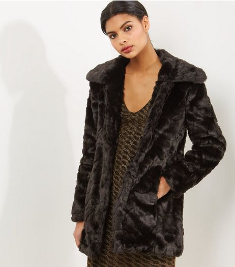 Blue Vanilla Black Faux Fur Coat | New Look