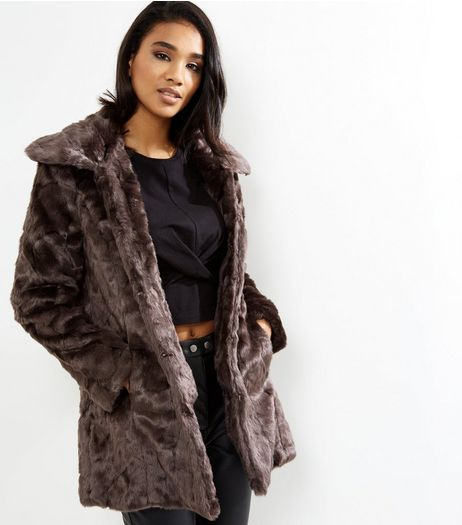Blue Vanilla Dark Brown Textured Faux Fur Coat  | New Look