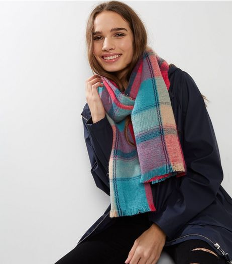Pink Contrast Check Frayed Scarf | New Look