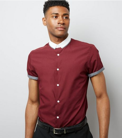 Burgundy Contrast Collar Short Sleeve Shirt | New Look