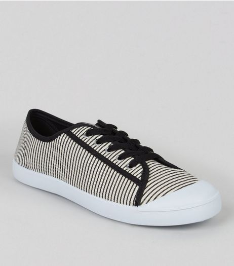 Black Stripe Canvas Trainers | New Look