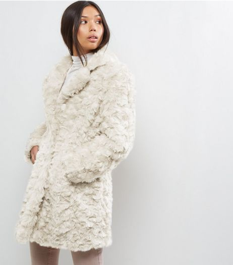 Blue Vanilla Cream Faux Fur Coat | New Look