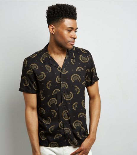 Black Floral Print Short Sleeve Shirt | New Look