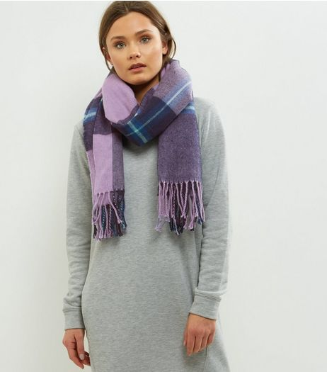 Purple Check Scarf | New Look