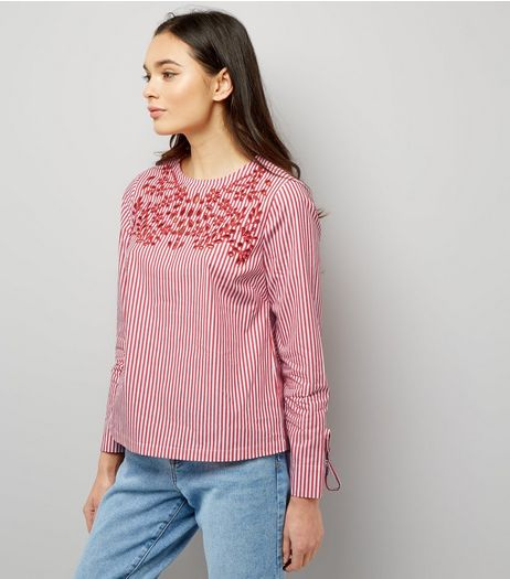 Red Stripe Embroidered Tie Sleeve Top  | New Look
