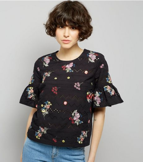 Black Embroidered Bell Sleeve Top  | New Look
