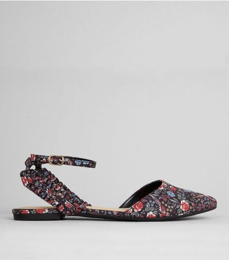 Black Floral Print Frill Trim Pointed Pumps | New Look