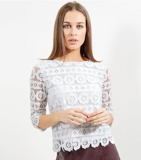 Tall Cream Floral Lace Half Sleeve Top | New Look