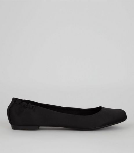Black Sateen Sqaure Toe Pumps | New Look