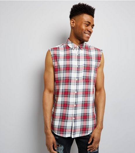 Red Check Chaos Back Print Sleeveless Shirt | New Look