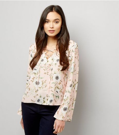Pink Floral Lace Up Flared Top | New Look