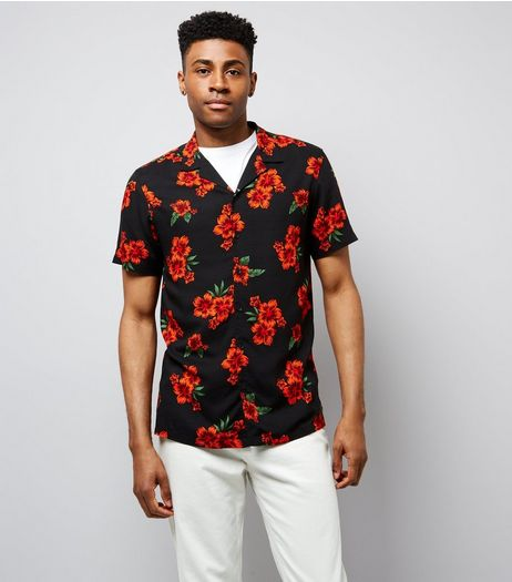 Red Floral Print Short Sleeve Shirt | New Look